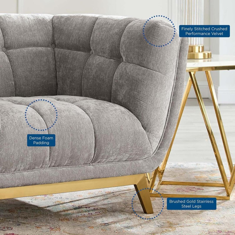 Armchair In Velvet Light Gray & Gold Frame Finish - image-6