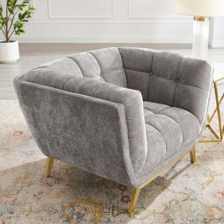 Armchair In Velvet Light Gray & Gold Frame Finish - image-5