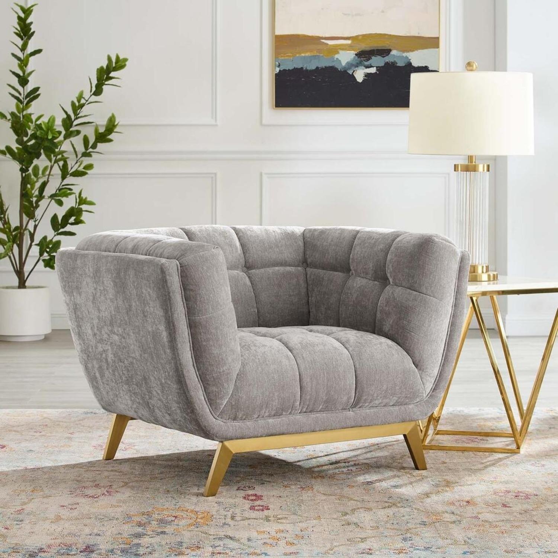 Armchair In Velvet Light Gray & Gold Frame Finish - image-7