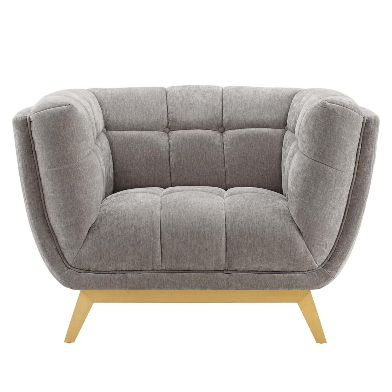 Armchair In Velvet Light Gray & Gold Frame Finish - image-1