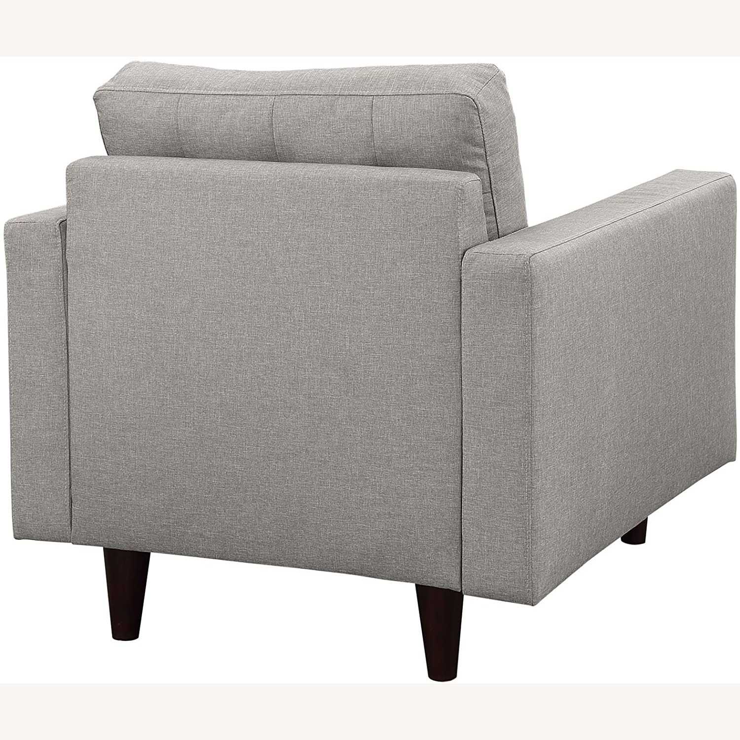 Armchair In Gray Upholstery W/ Tufted Buttons - image-3