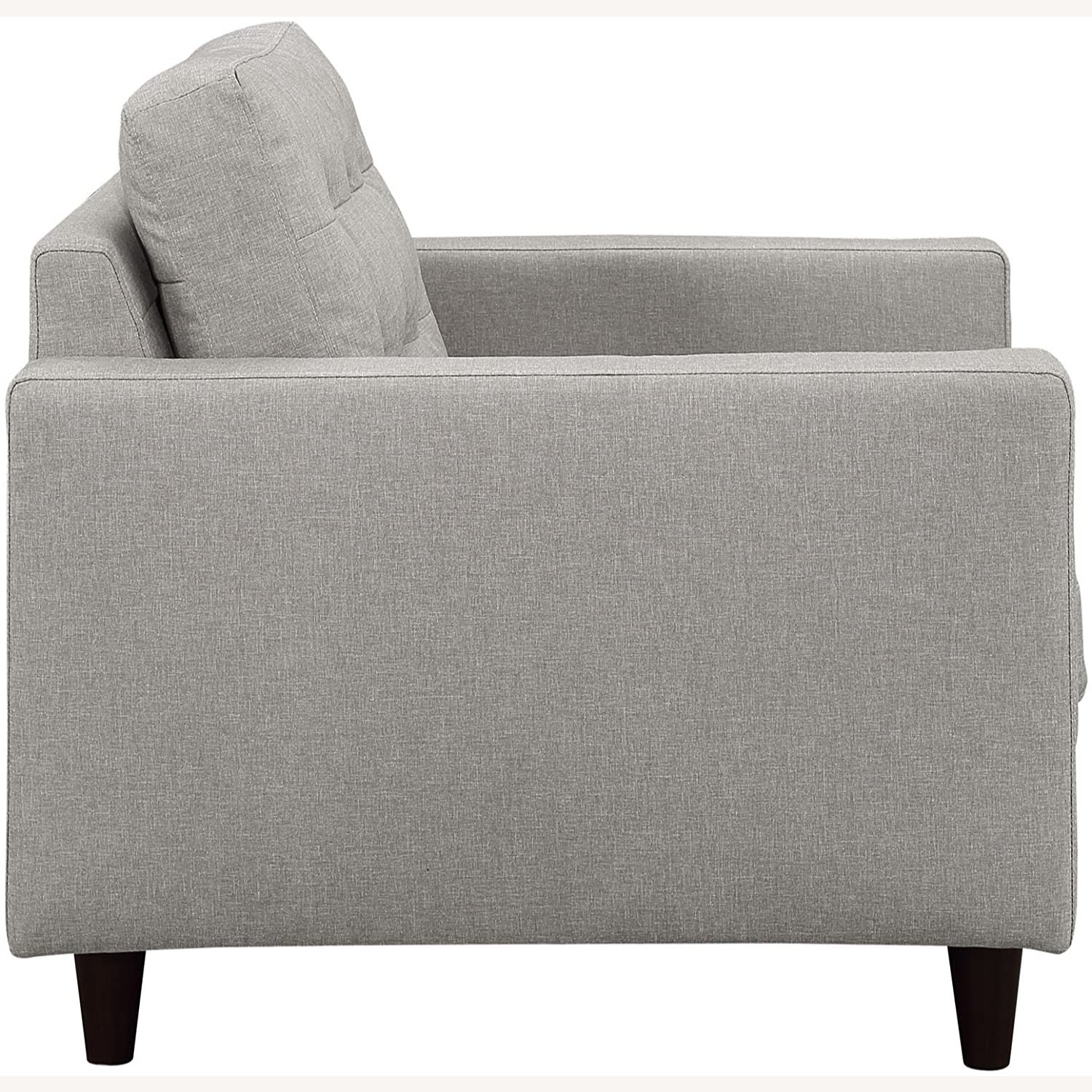 Armchair In Gray Upholstery W/ Tufted Buttons - image-2