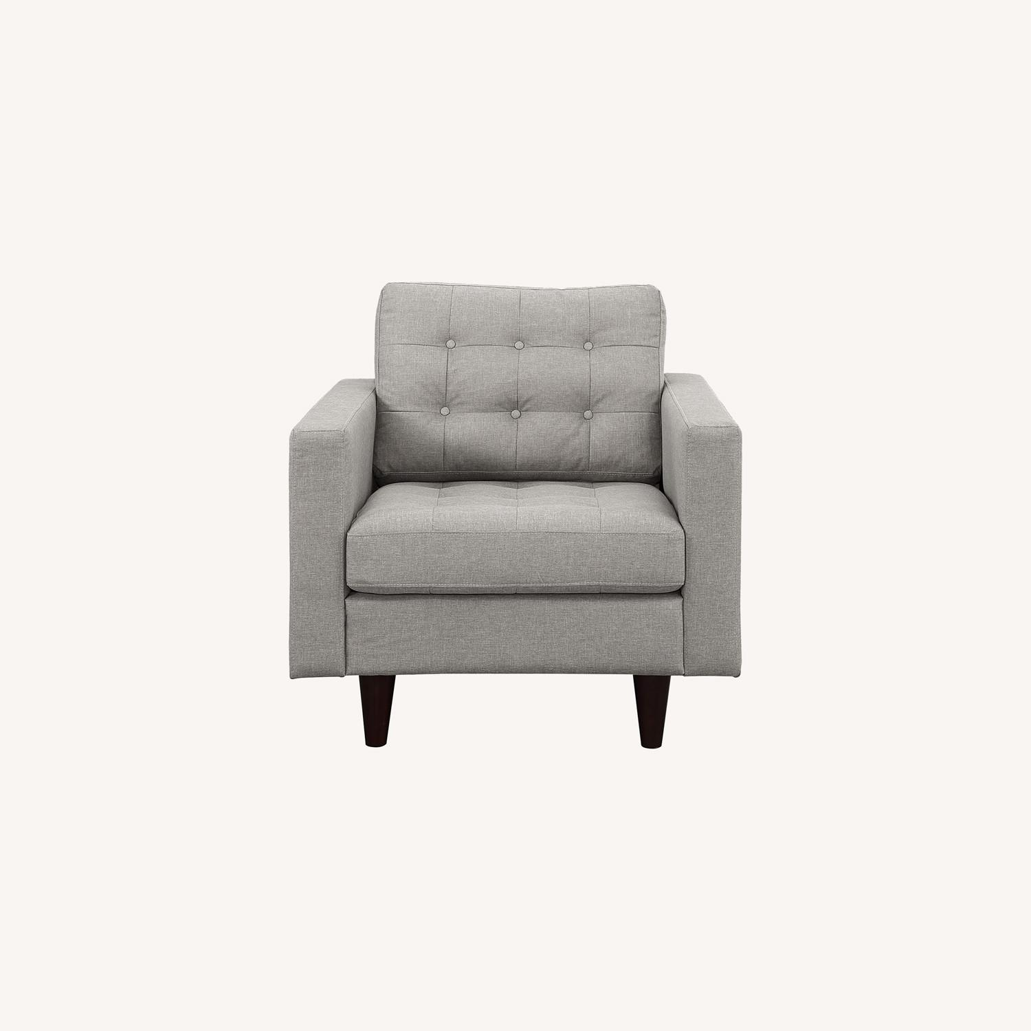 Armchair In Gray Upholstery W/ Tufted Buttons - image-6