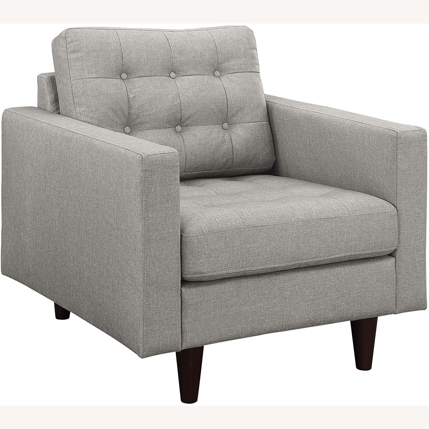 Armchair In Gray Upholstery W/ Tufted Buttons - image-0