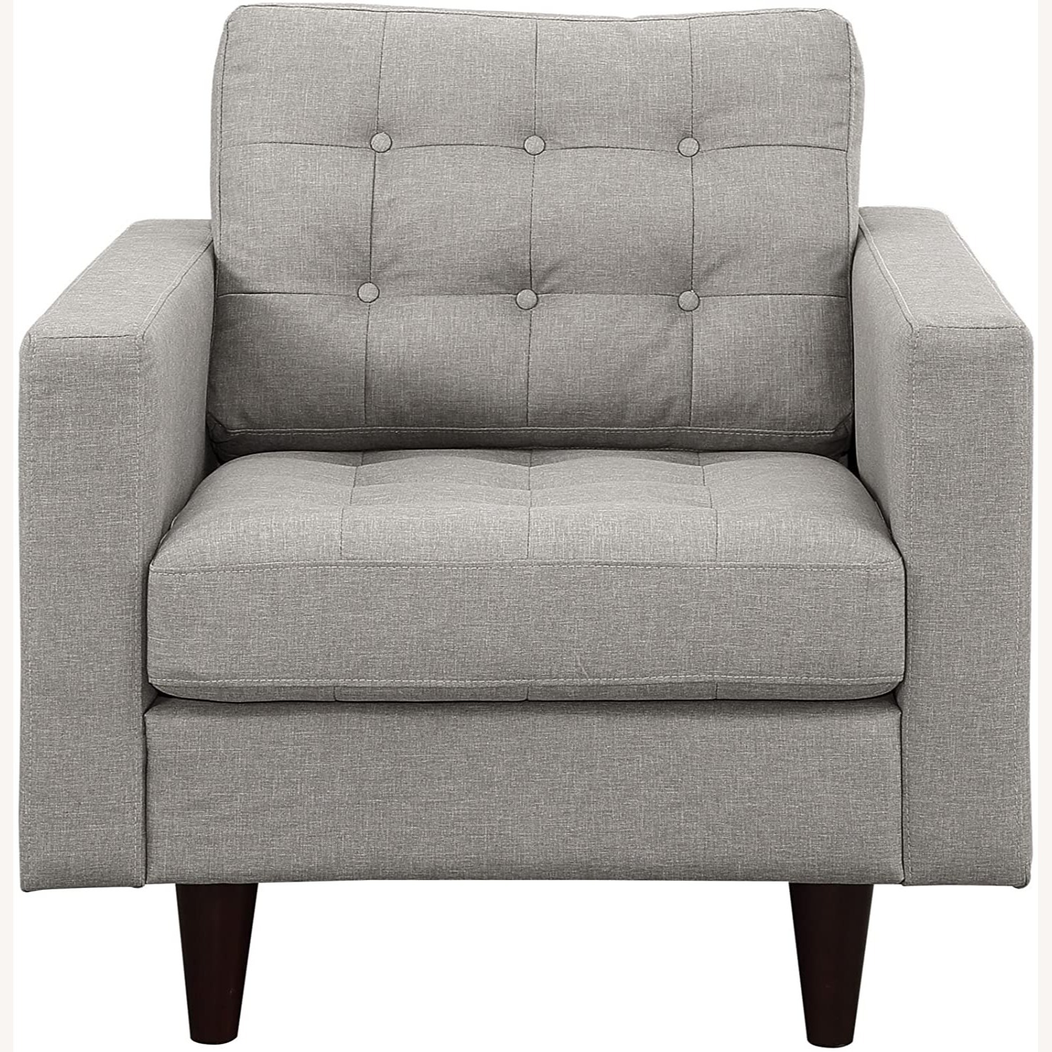 Armchair In Gray Upholstery W/ Tufted Buttons - image-1