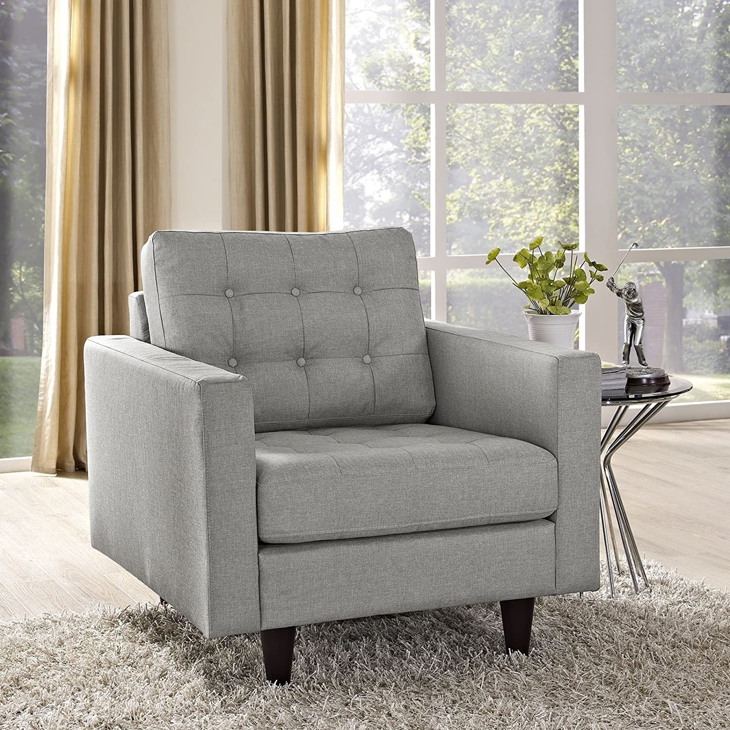 Armchair In Gray Upholstery W/ Tufted Buttons - image-4