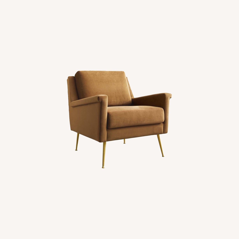 Armchair In Gold Cognac Velvet Upholstery Finish - image-3