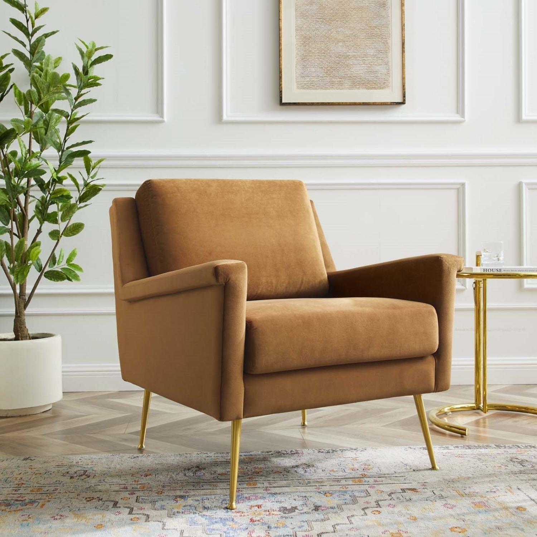 Armchair In Gold Cognac Velvet Upholstery Finish - image-1
