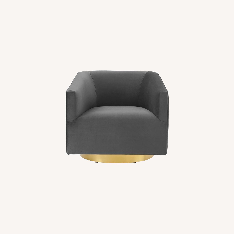 Swivel Armchair In Gold Charcoal Velvet Finish - image-7