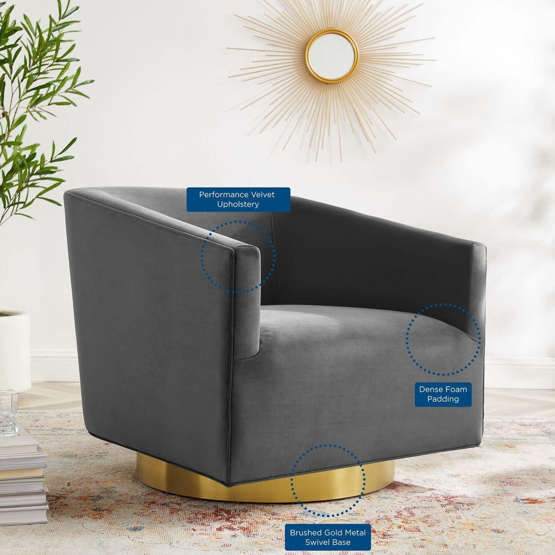 Swivel Armchair In Gold Charcoal Velvet Finish - image-5