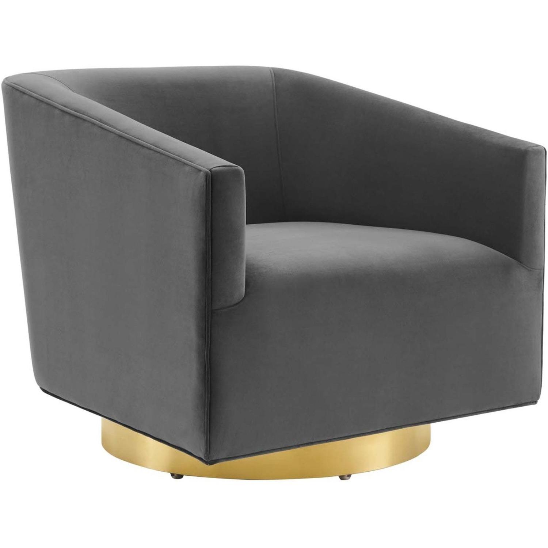 Swivel Armchair In Gold Charcoal Velvet Finish - image-0