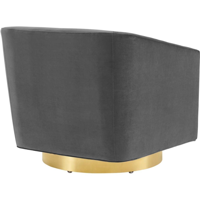Swivel Armchair In Gold Charcoal Velvet Finish - image-3