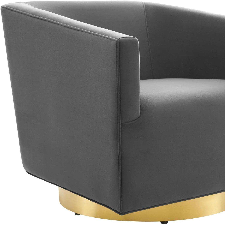 Swivel Armchair In Gold Charcoal Velvet Finish - image-4