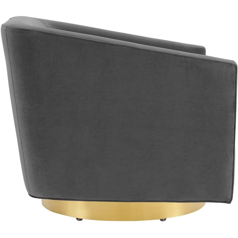 Swivel Armchair In Gold Charcoal Velvet Finish - image-2
