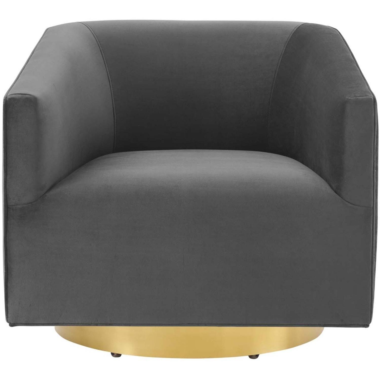 Swivel Armchair In Gold Charcoal Velvet Finish - image-1
