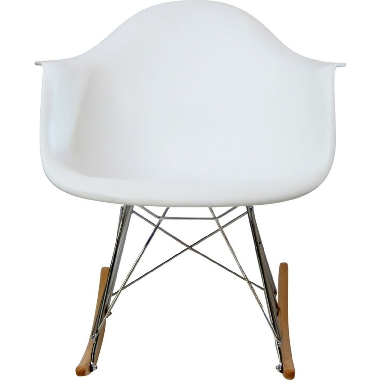 Accent Chair In White Plastic W/ Chrome Finish - image-1