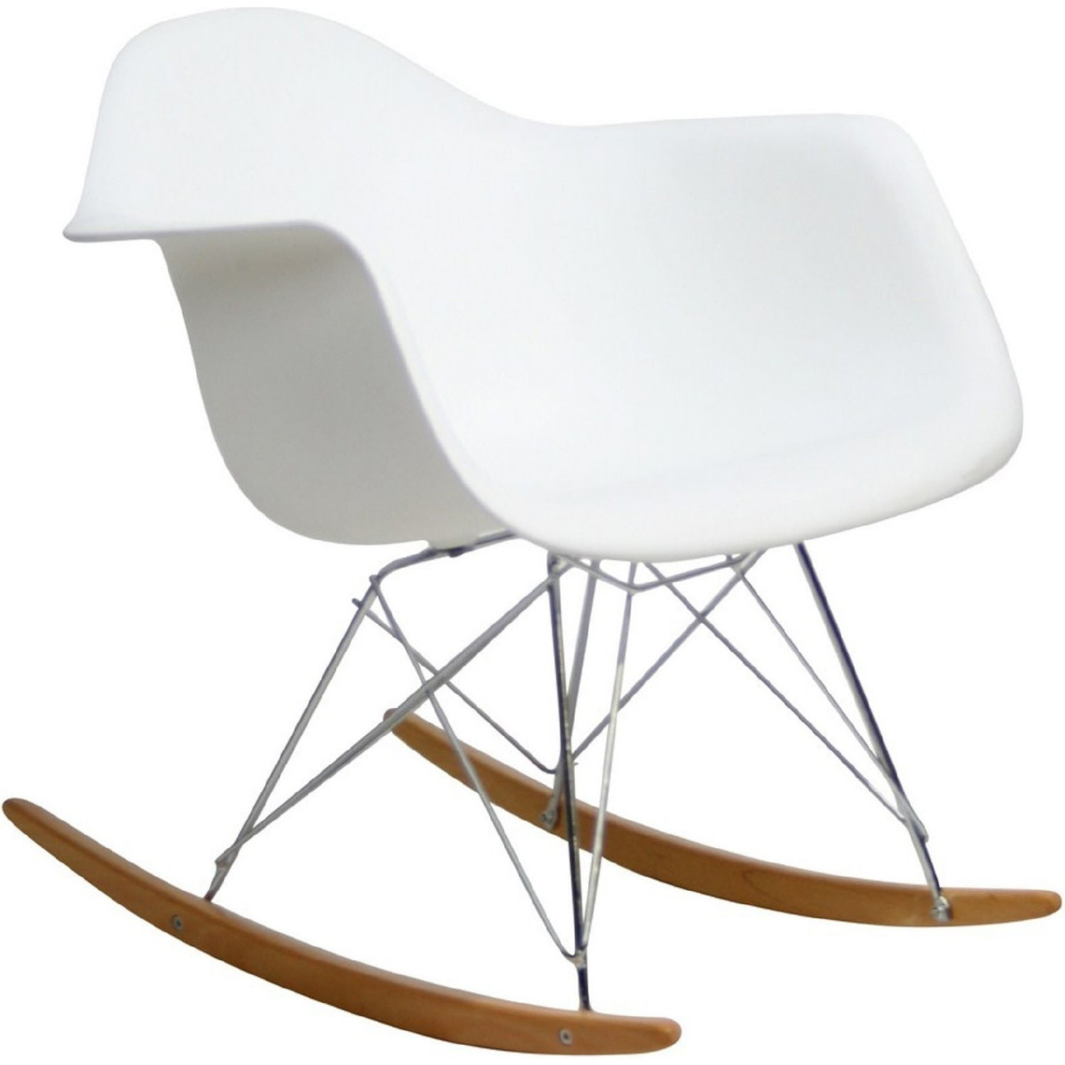Accent Chair In White Plastic W/ Chrome Finish - image-0
