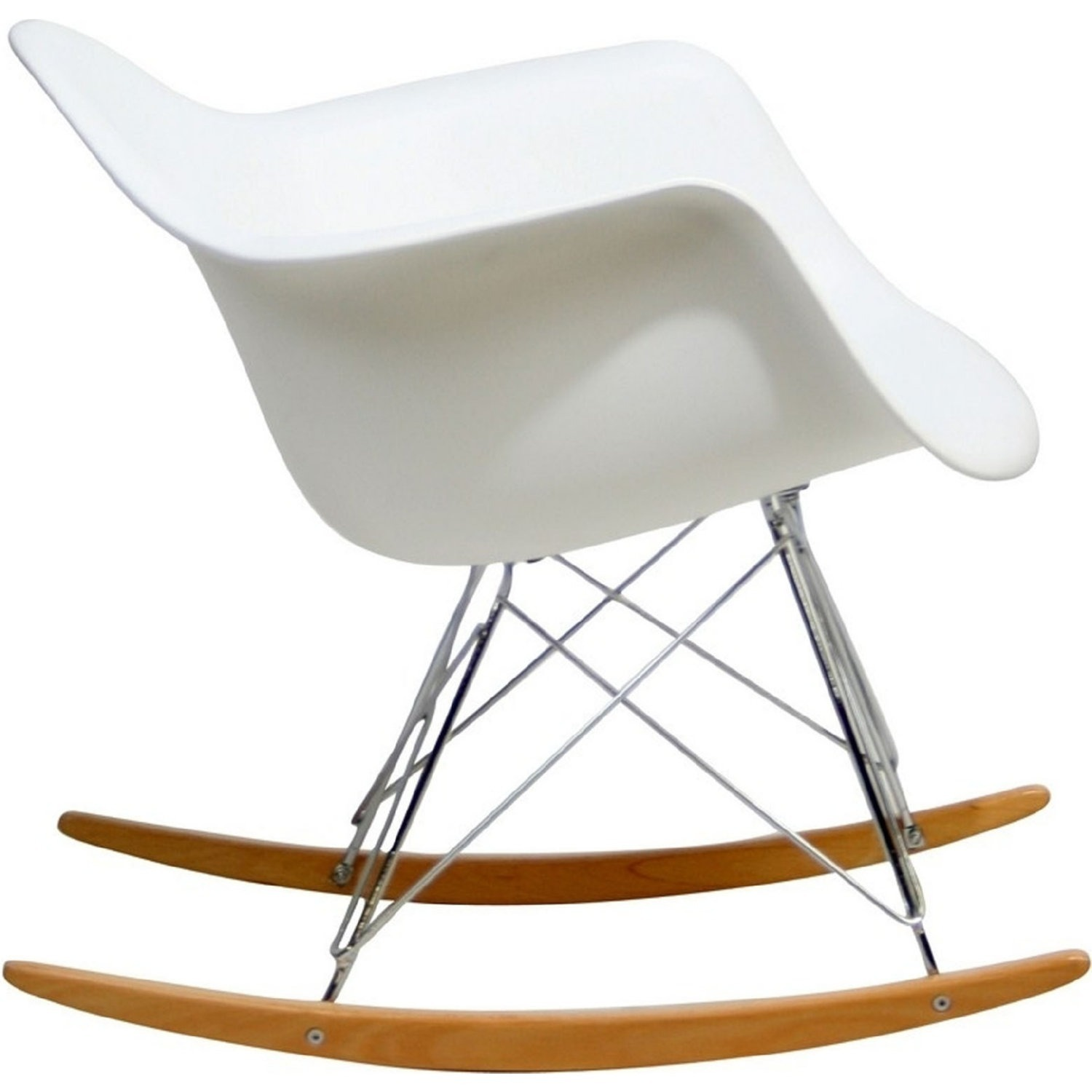Accent Chair In White Plastic W/ Chrome Finish - image-2