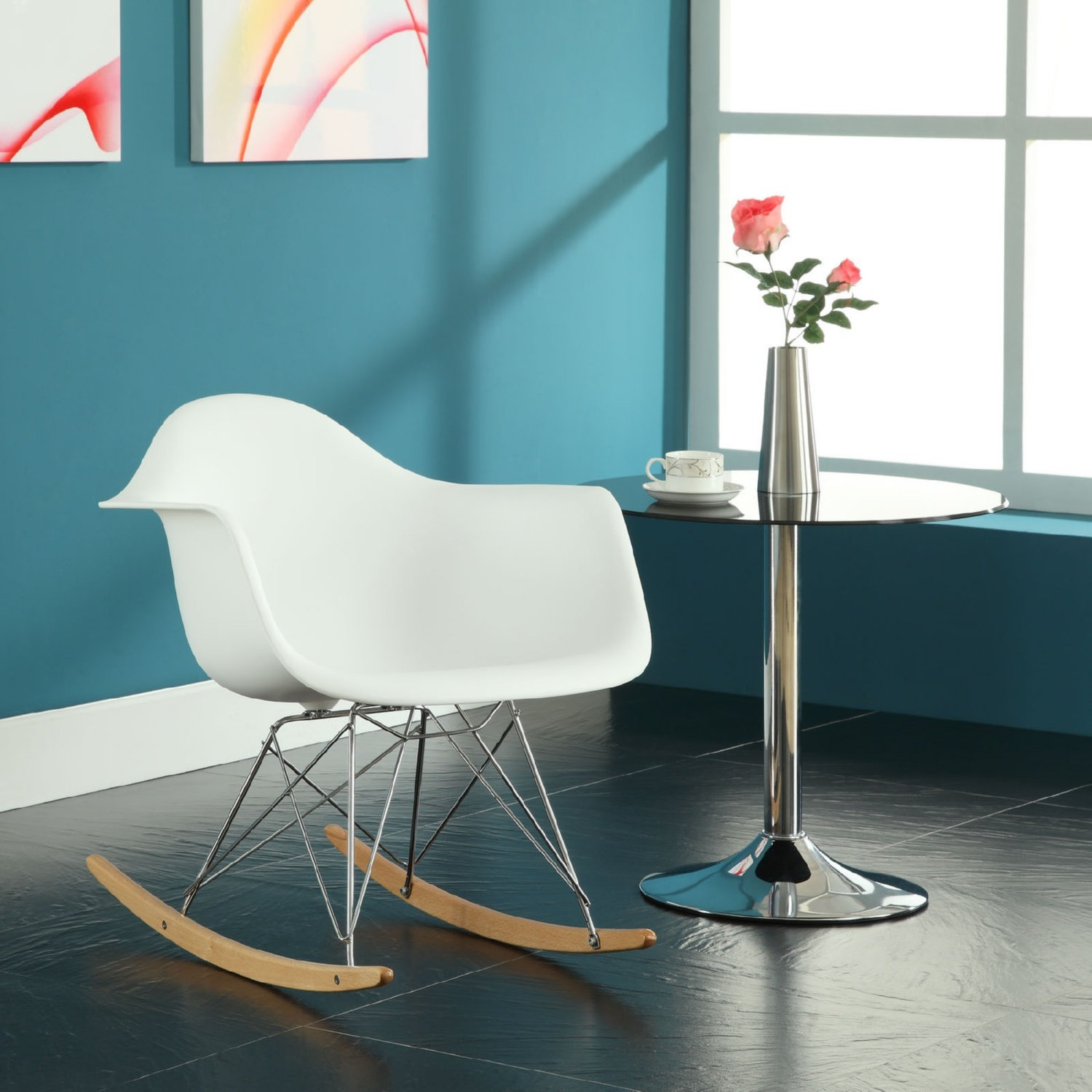 Accent Chair In White Plastic W/ Chrome Finish - image-4