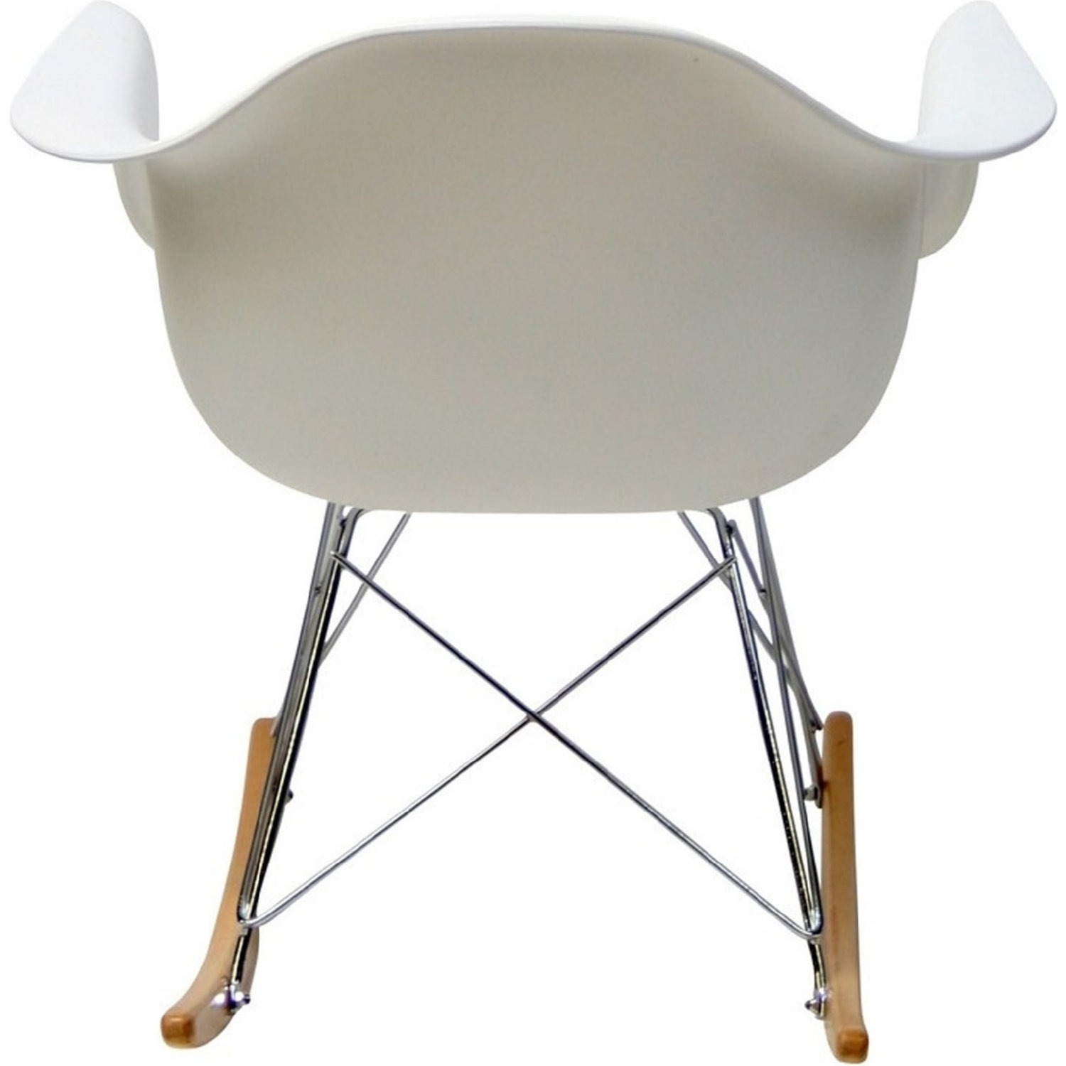 Accent Chair In White Plastic W/ Chrome Finish - image-3