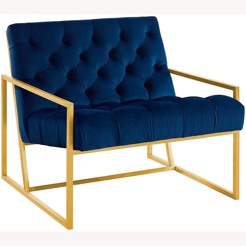 Accent Chair In Navy Velvet & Gold Steel Finish - image-0