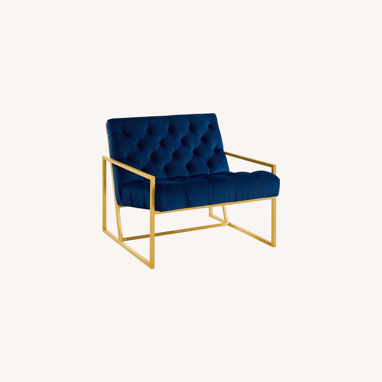 Accent Chair In Navy Velvet & Gold Steel Finish - image-4
