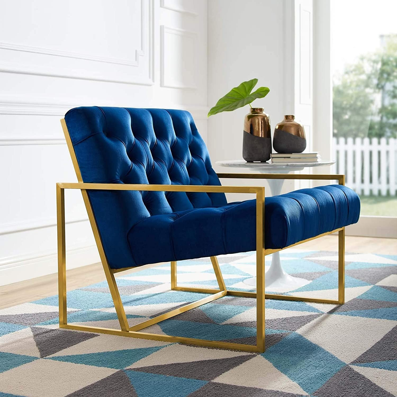 Accent Chair In Navy Velvet & Gold Steel Finish - image-3