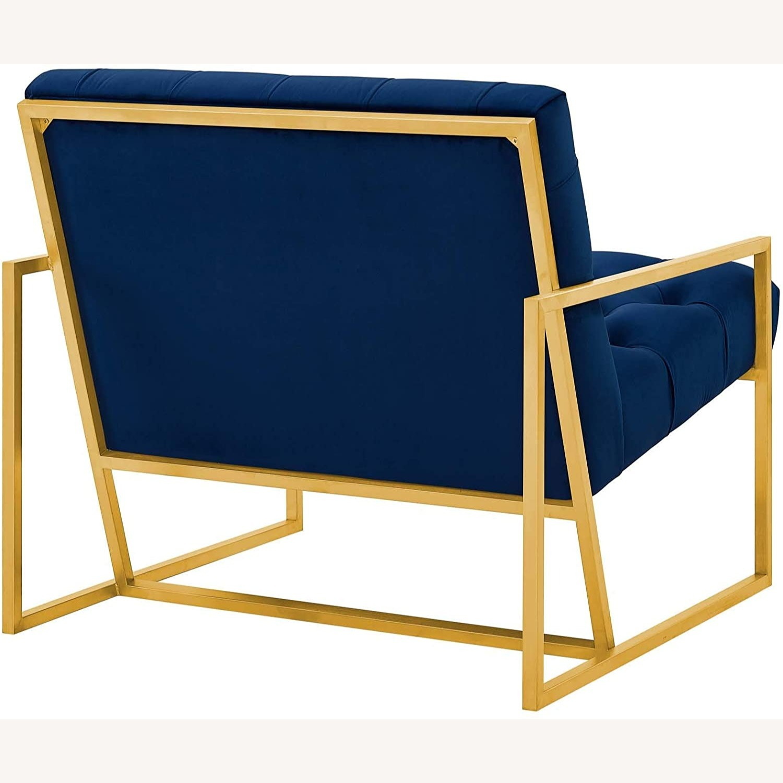 Accent Chair In Navy Velvet & Gold Steel Finish - image-2