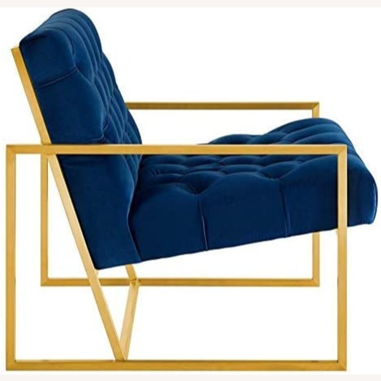Accent Chair In Navy Velvet & Gold Steel Finish - image-1