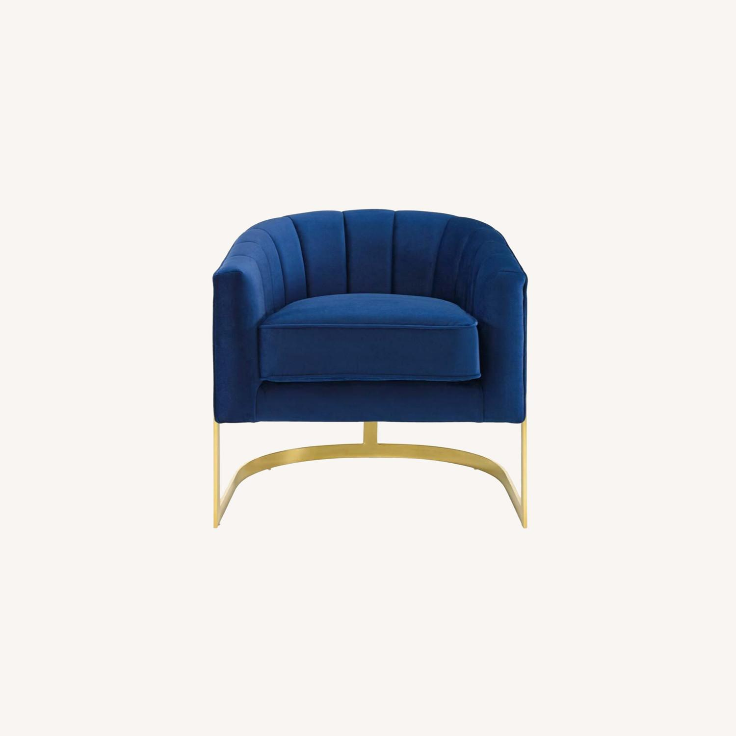 Accent Chair In Navy Velvet W/ Channel Tufting - image-6