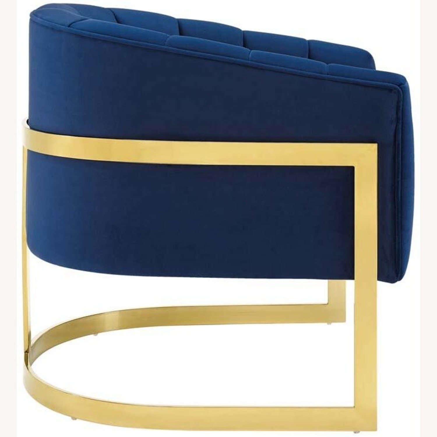 Accent Chair In Navy Velvet W/ Channel Tufting - image-2