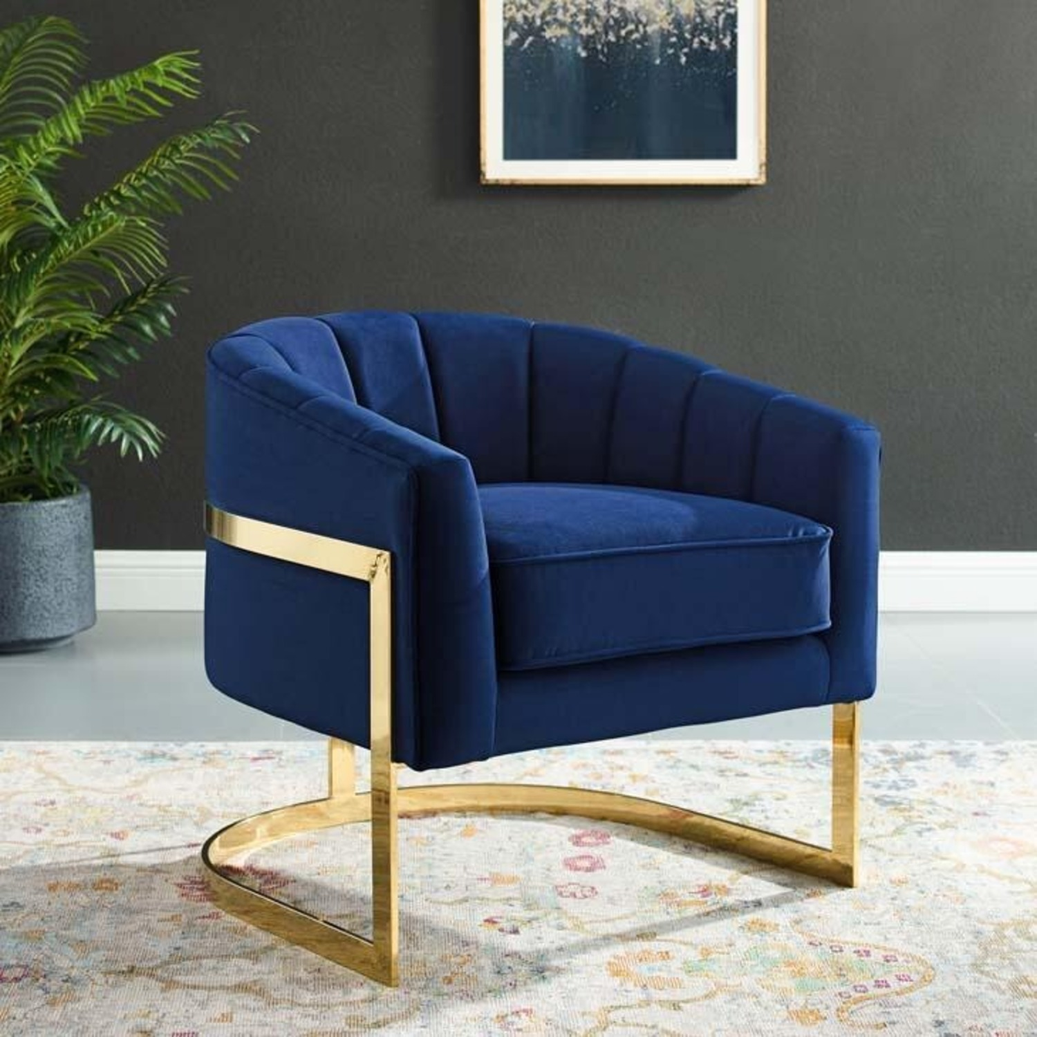Accent Chair In Navy Velvet W/ Channel Tufting - image-4