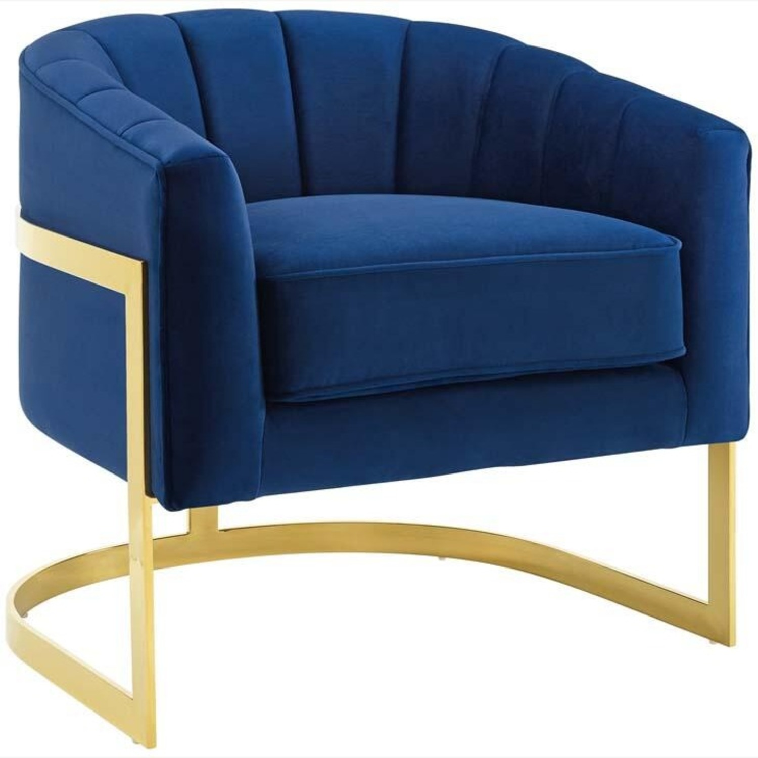 Accent Chair In Navy Velvet W/ Channel Tufting - image-0