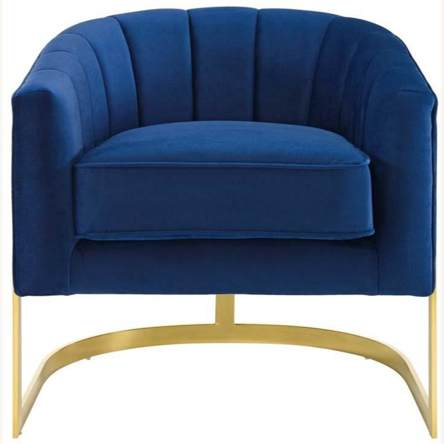 Accent Chair In Navy Velvet W/ Channel Tufting - image-1