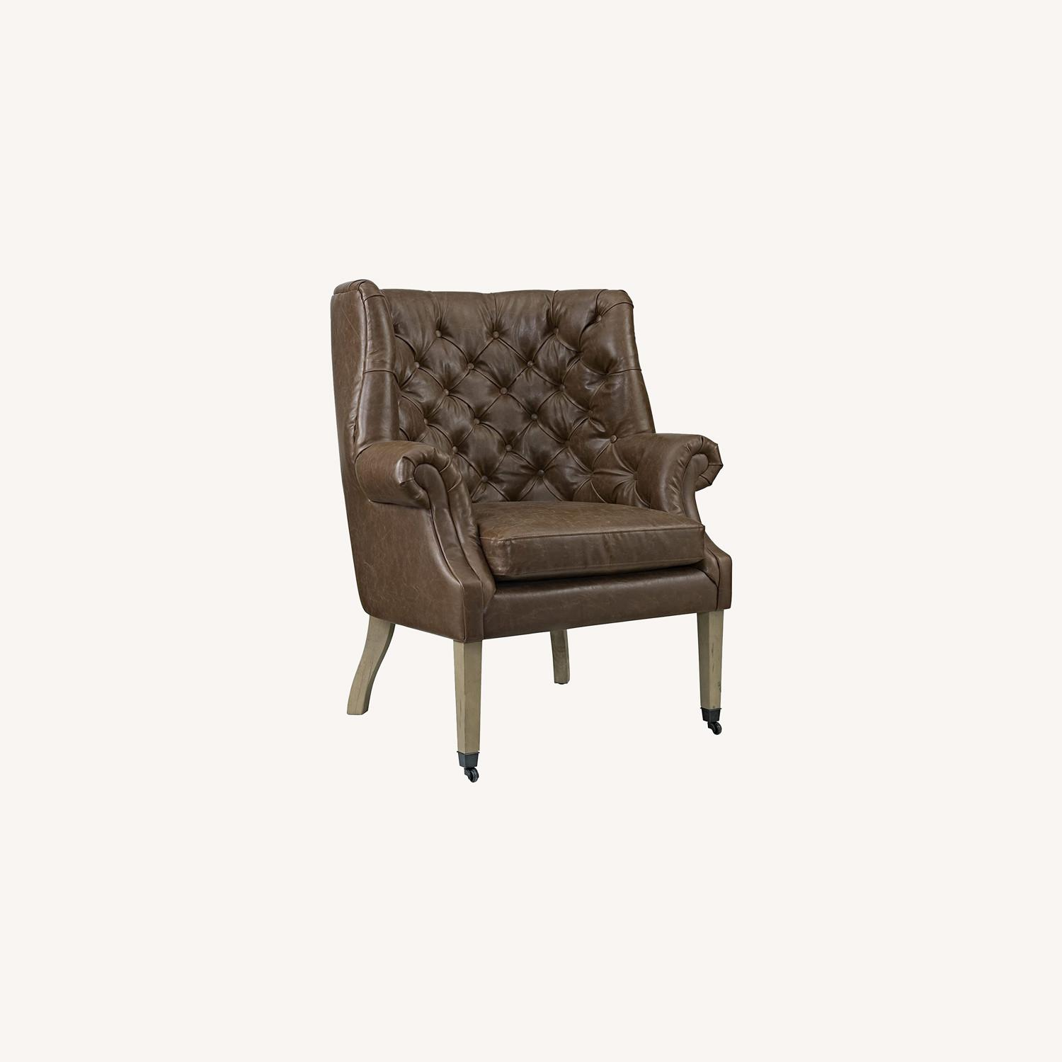 Accent Chair In Brown Vinyl Upholstery Finish - image-5