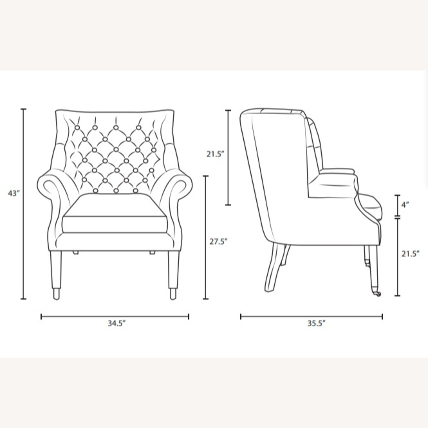 Accent Chair In Brown Vinyl Upholstery Finish - image-4