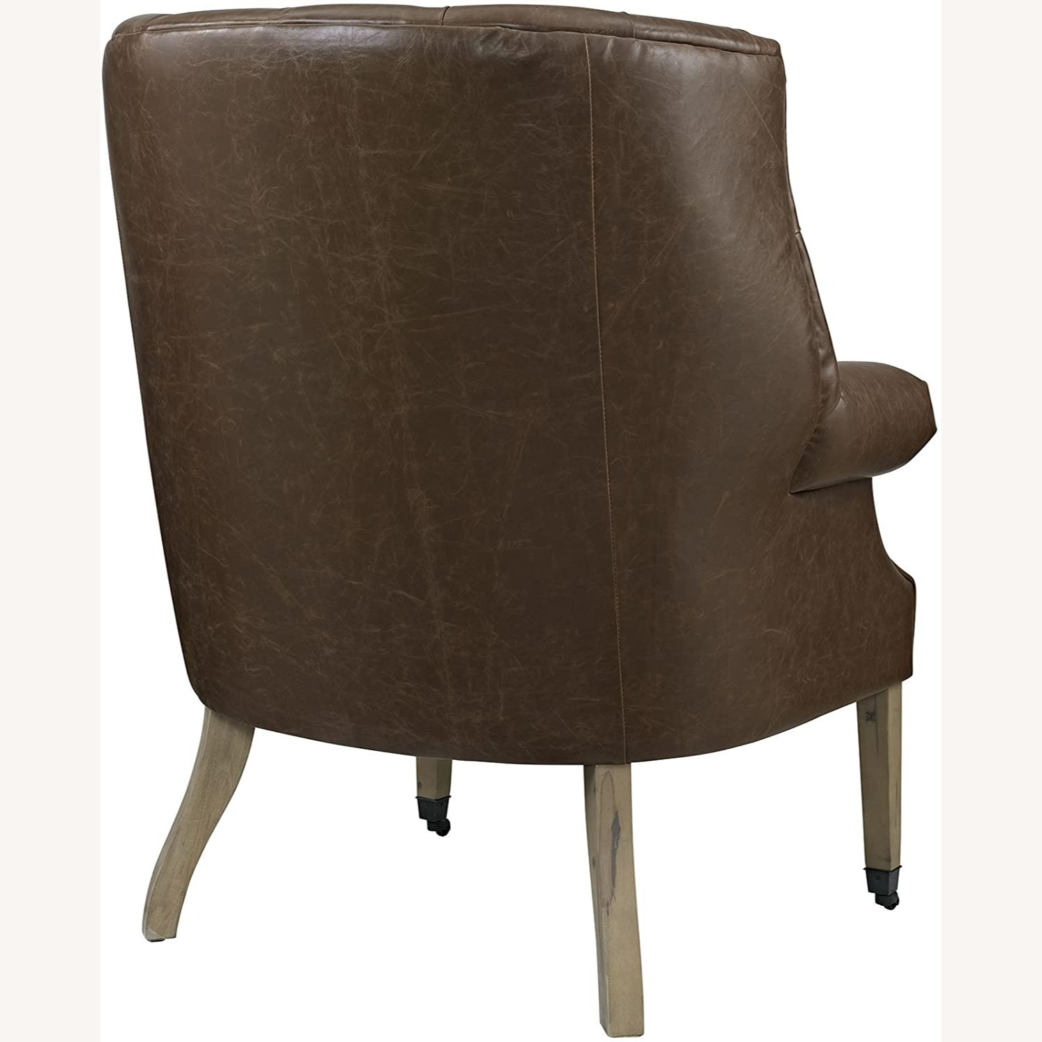 Accent Chair In Brown Vinyl Upholstery Finish - image-2