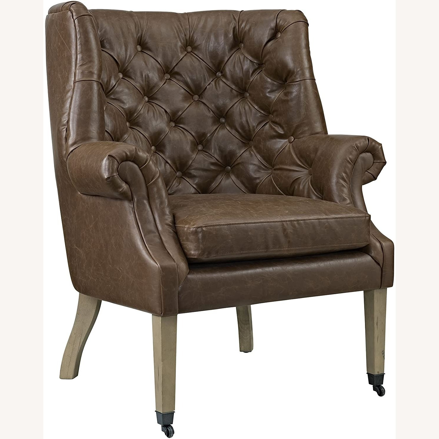 Accent Chair In Brown Vinyl Upholstery Finish - image-0