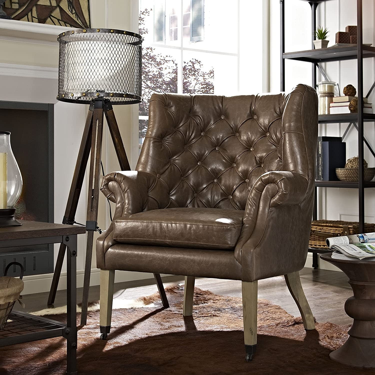 Accent Chair In Brown Vinyl Upholstery Finish - image-3