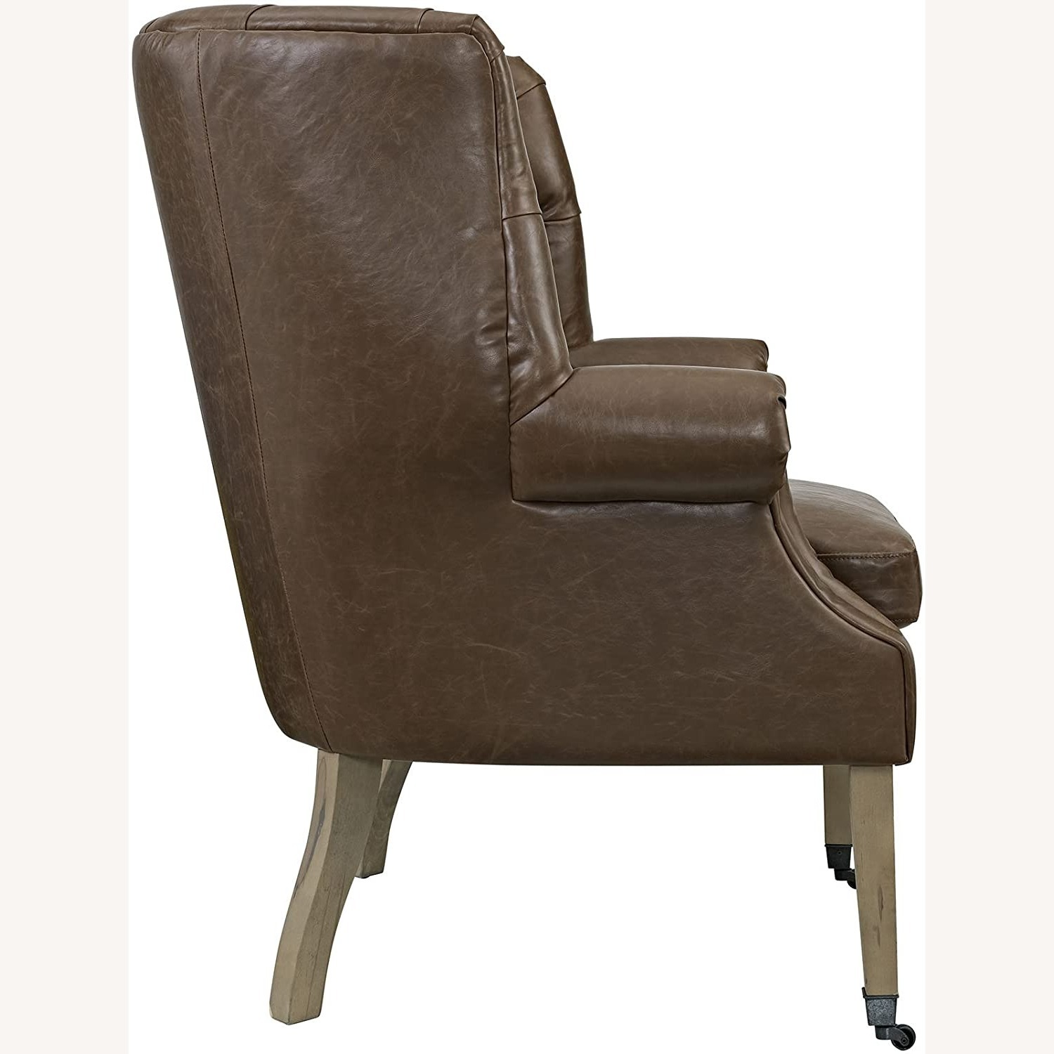 Accent Chair In Brown Vinyl Upholstery Finish - image-1