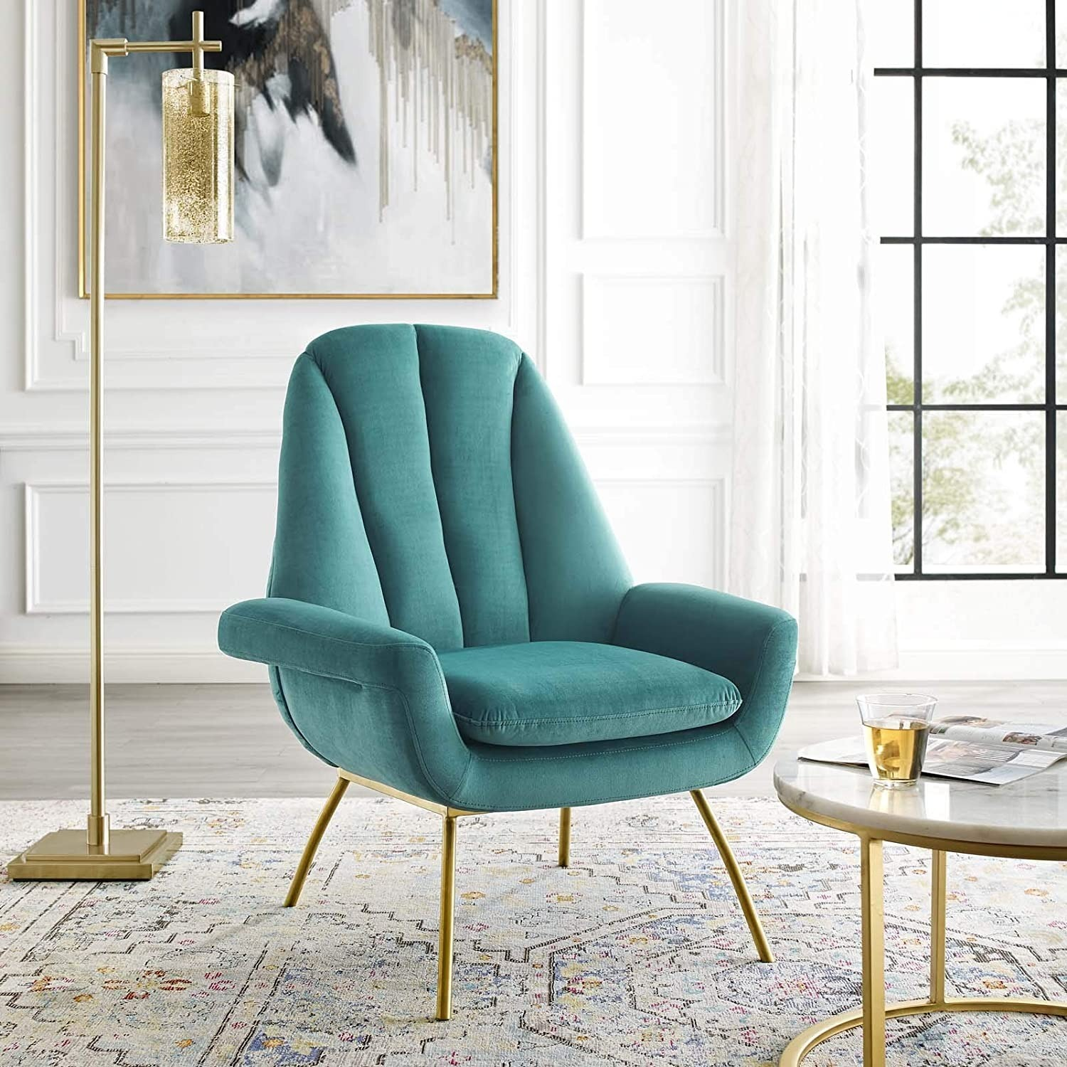 Accent Chair In Teal Velvet Upholstery Finish - image-3