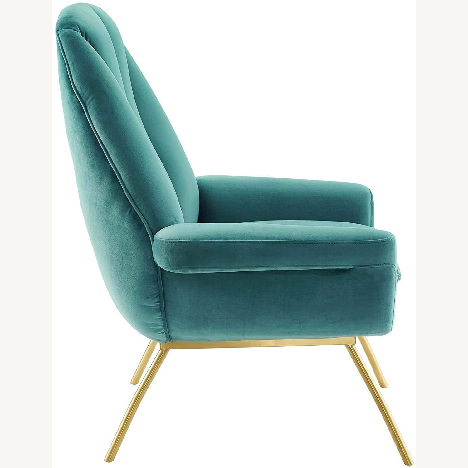 Accent Chair In Teal Velvet Upholstery Finish - image-1