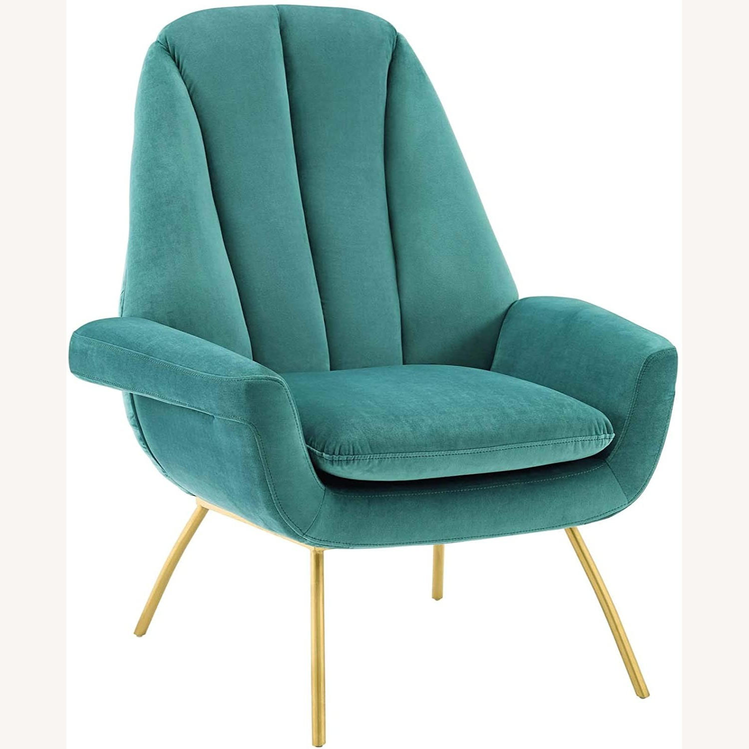 Accent Chair In Teal Velvet Upholstery Finish - image-0