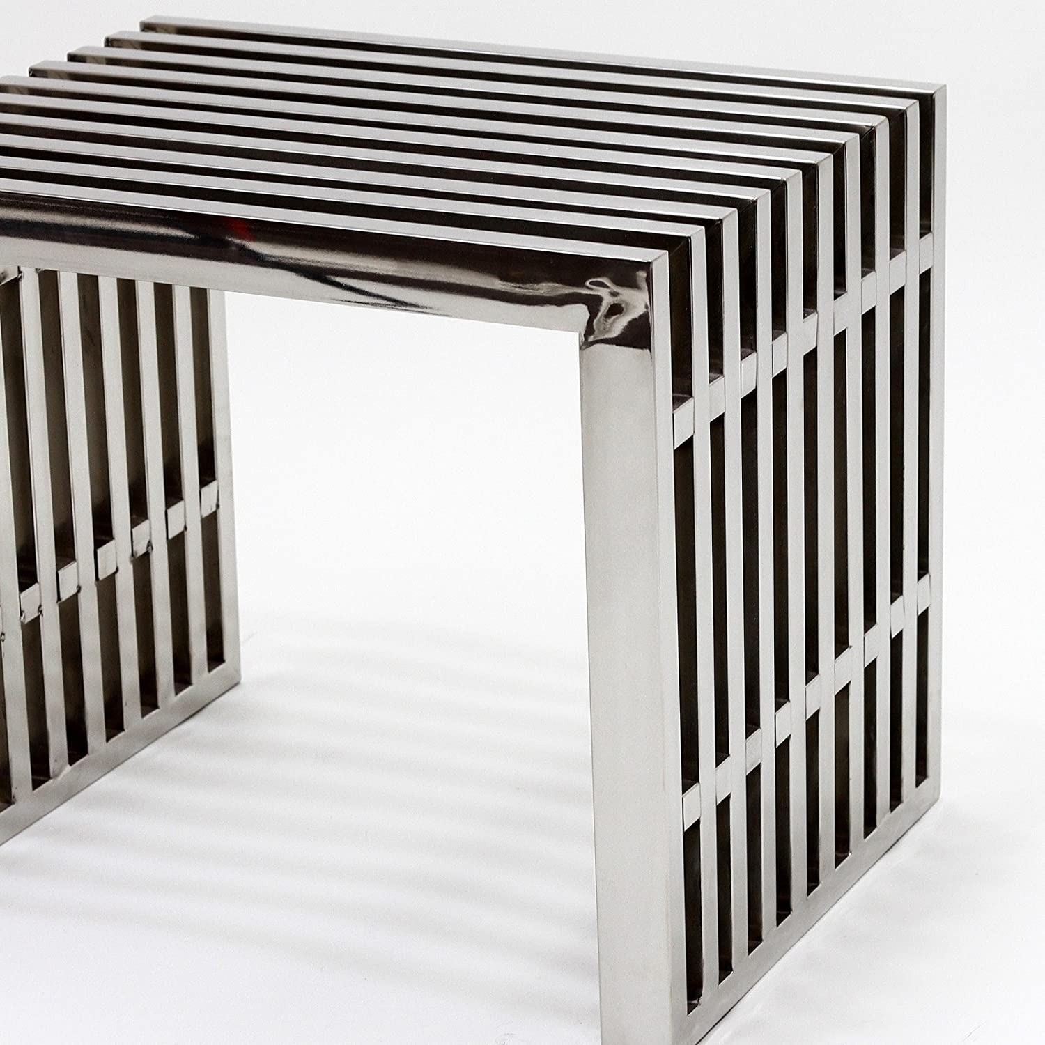 Bench In Silver Small Stainless Steel Finish - image-2