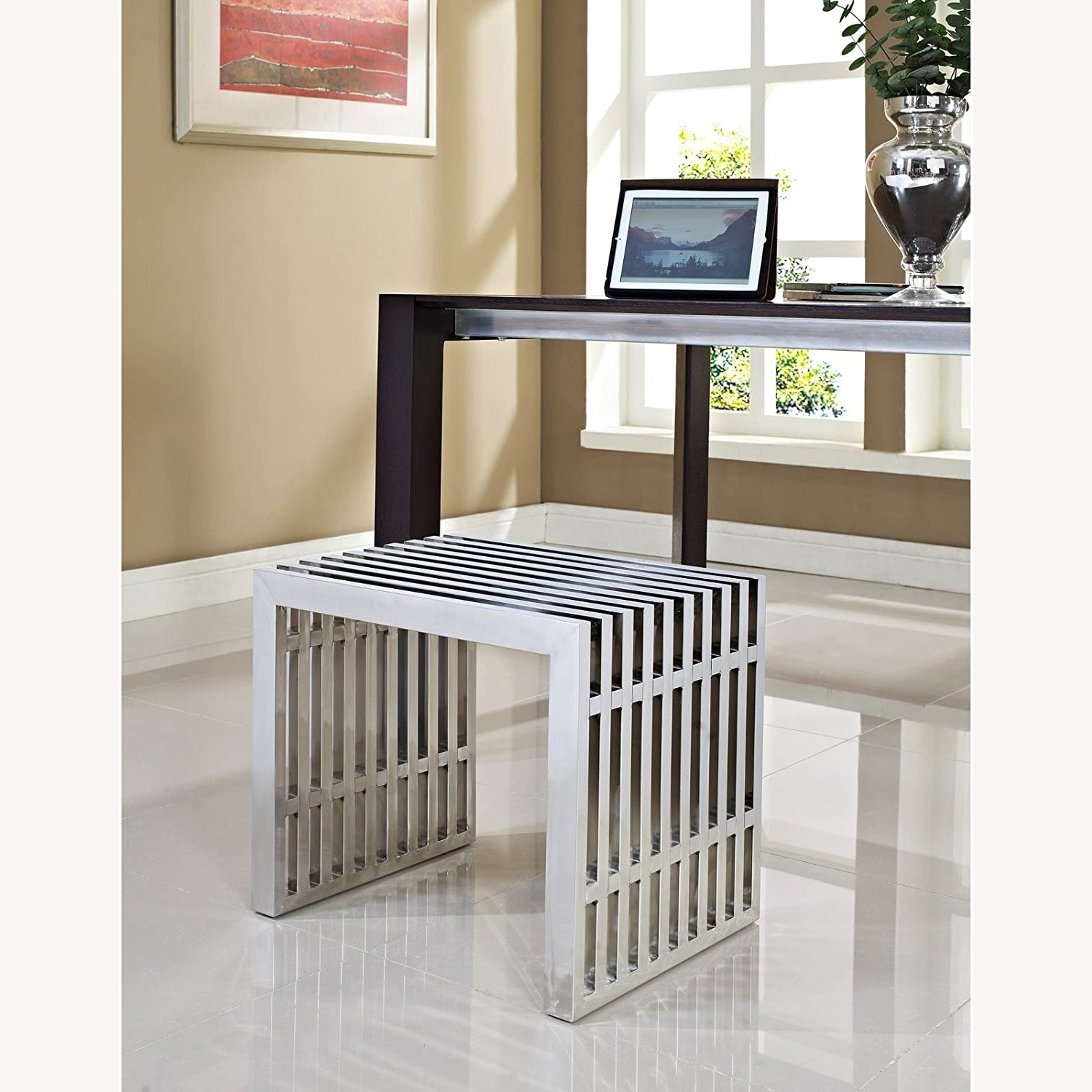 Bench In Silver Small Stainless Steel Finish - image-3