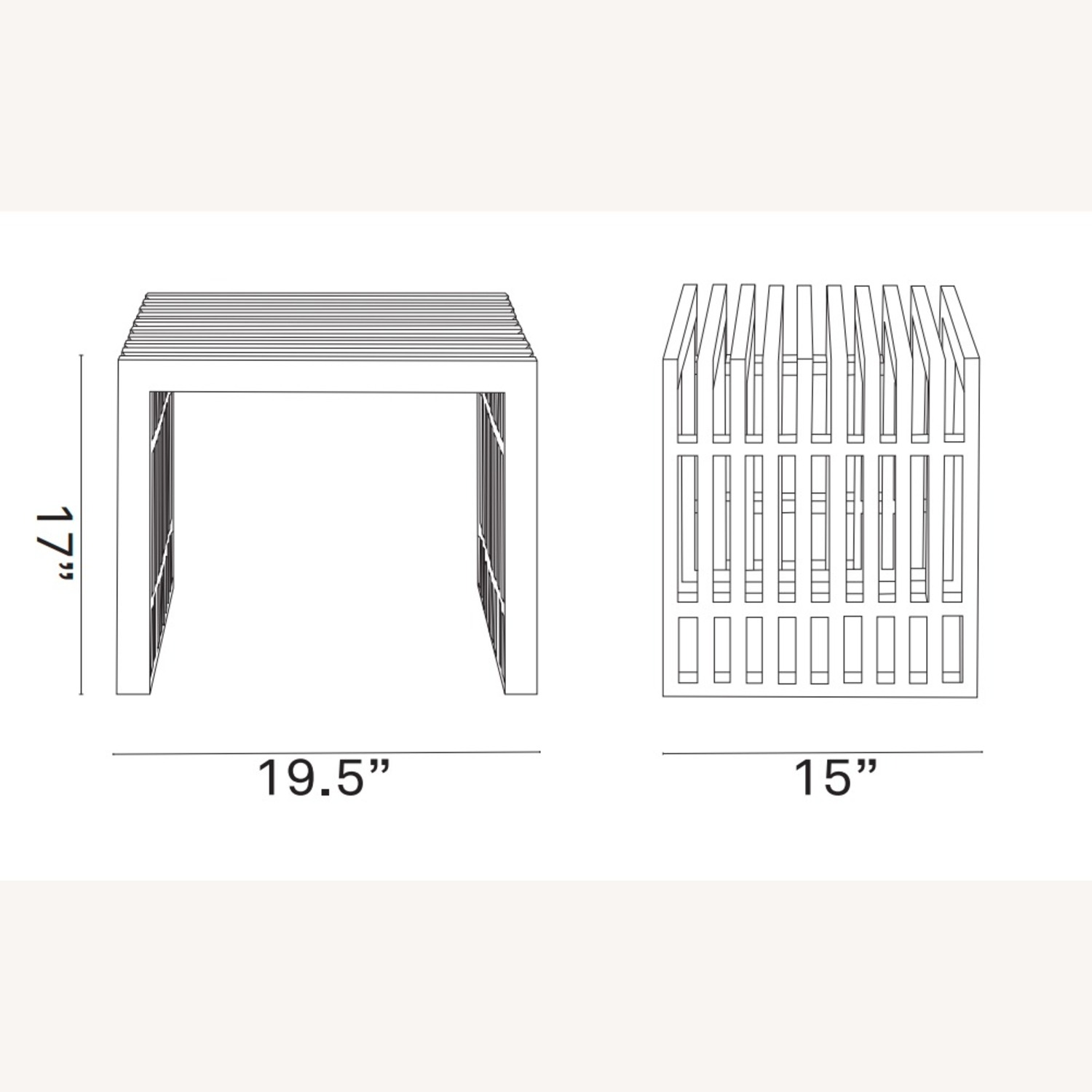 Bench In Silver Small Stainless Steel Finish - image-4