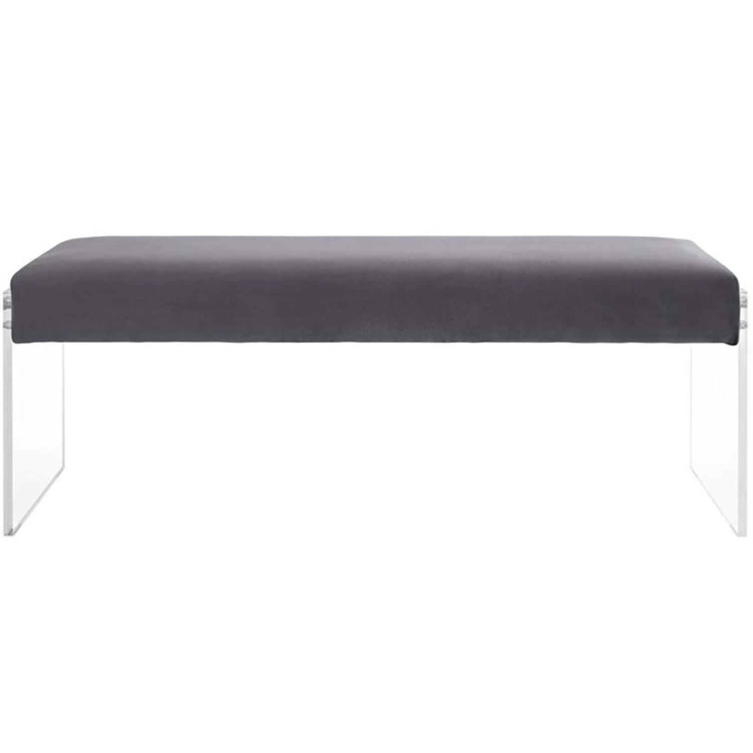 Bench In Gray Velvet Fabric & Clear Acrylic Finish - image-0
