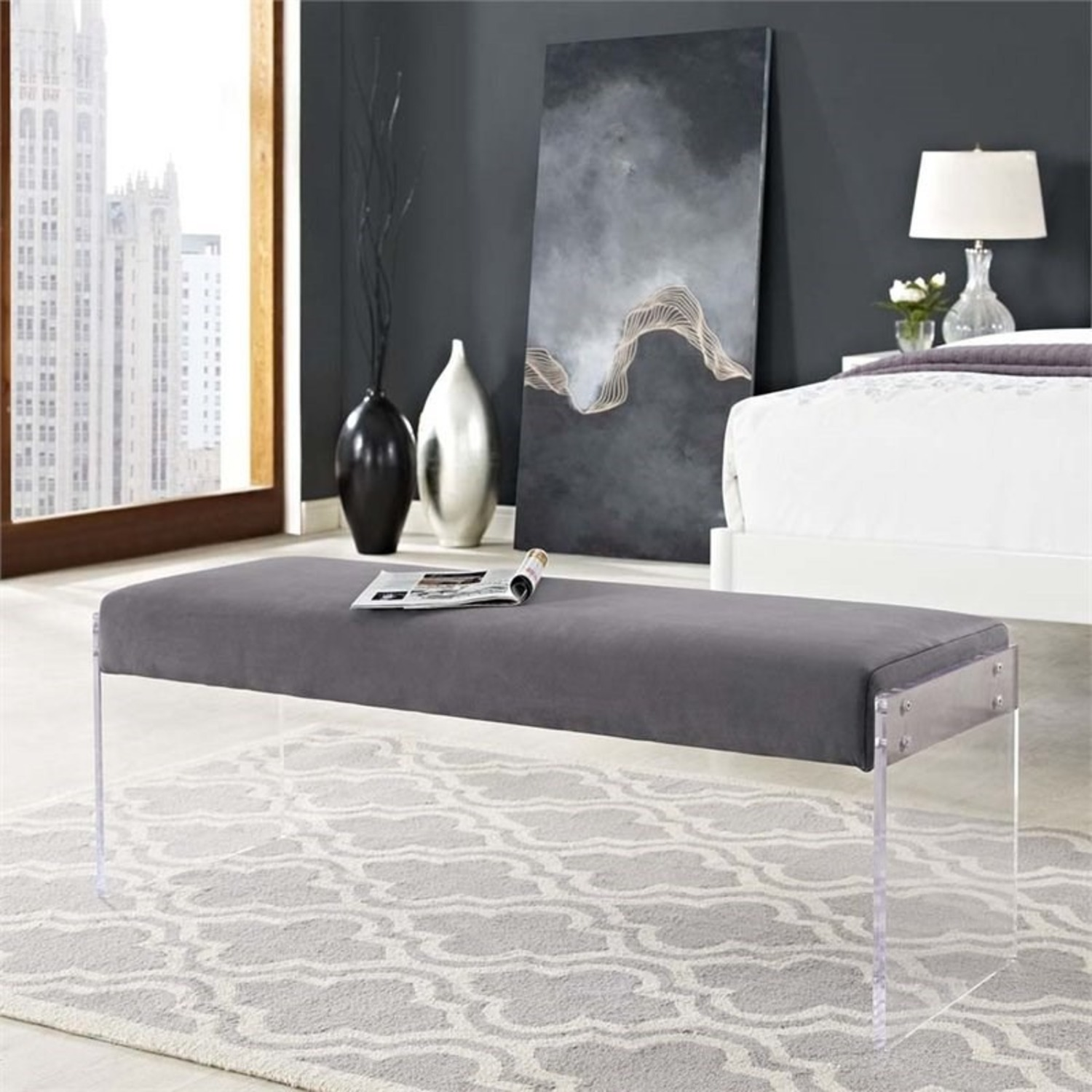 Bench In Gray Velvet Fabric & Clear Acrylic Finish - image-2