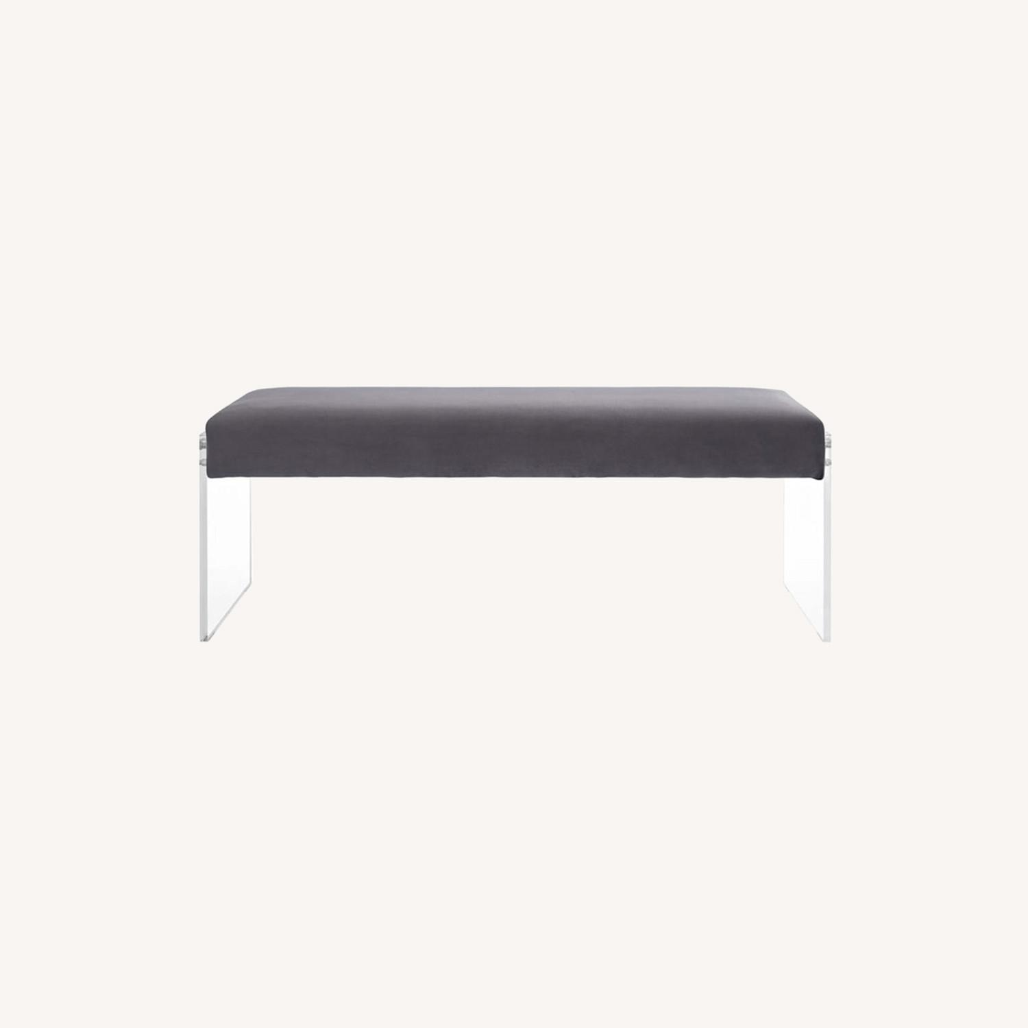 Bench In Gray Velvet Fabric & Clear Acrylic Finish - image-5