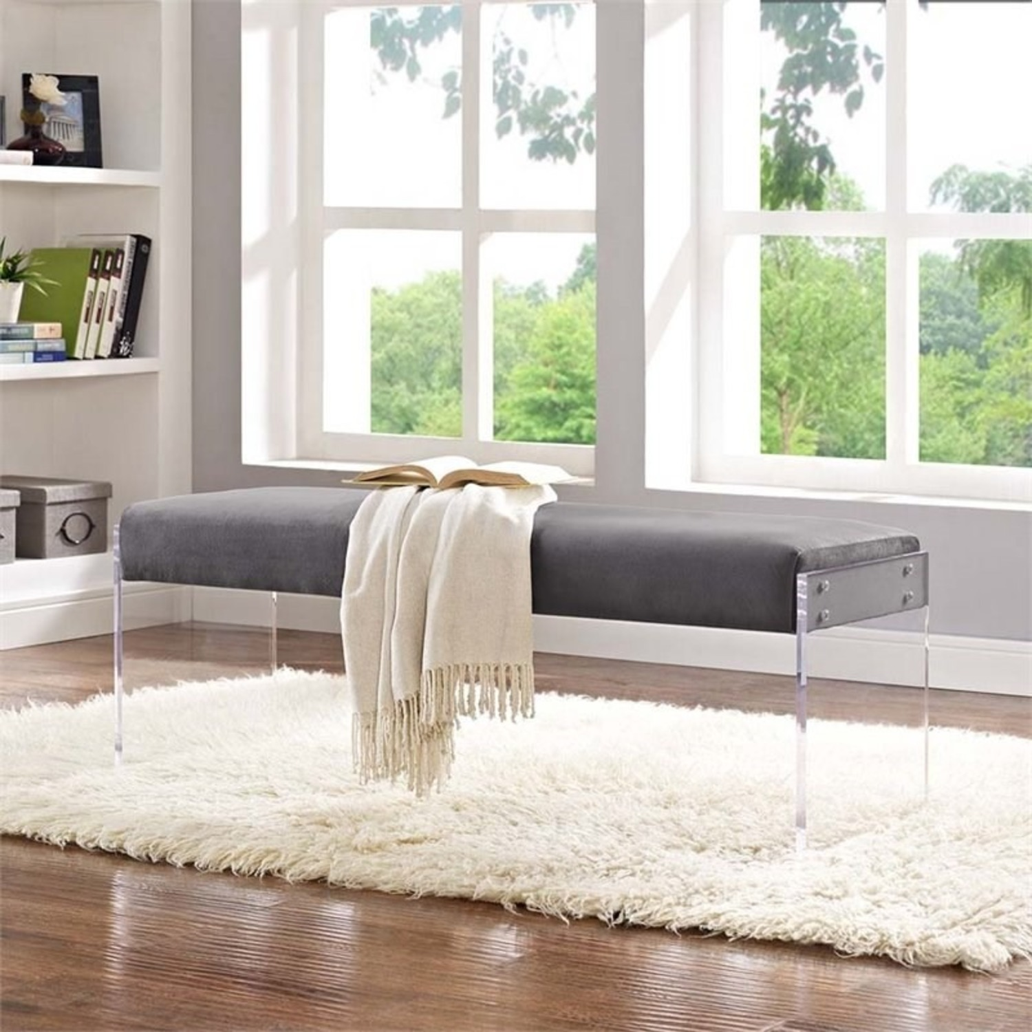 Bench In Gray Velvet Fabric & Clear Acrylic Finish - image-3